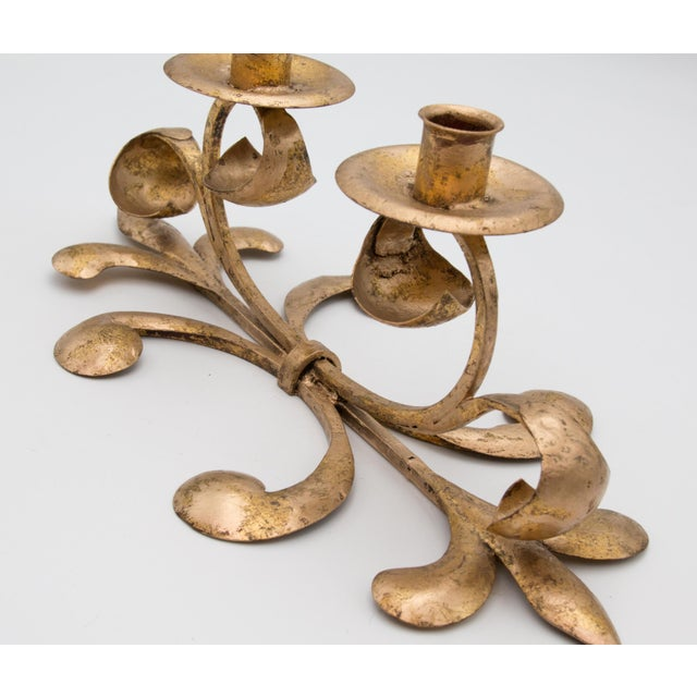 Mid 20th Century Mid-Century Italian Gilt Tole Candelabra Candle Holder For Sale - Image 5 of 8