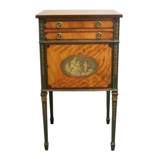 Late 18th Century English George III Painted Satinwood Side Cabinet For Sale