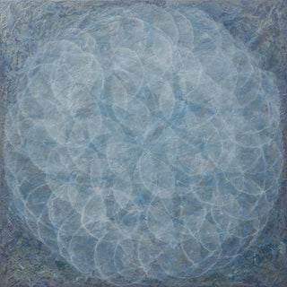 "Roger Mudre ""Cocilliana Ii"" Modern Iridescent Acrylic Wedgewood Blue Geometric Painting For Sale"