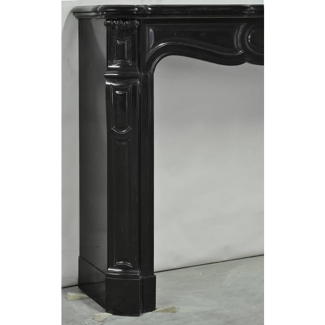 Black Pair of Marble Antique French Pompadour Style Fireplace Mantels For Sale - Image 8 of 9