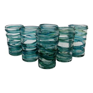 Rustic Blown Glass Highballs, Set of 6 For Sale
