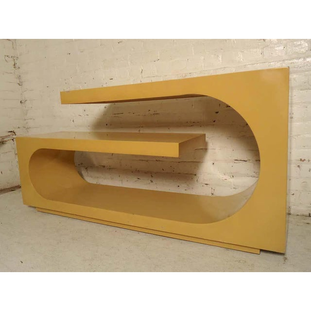Mid-Century Modern Karl Springer style console with yellow lacquer color. (Please confirm item location - NY or NJ - with...