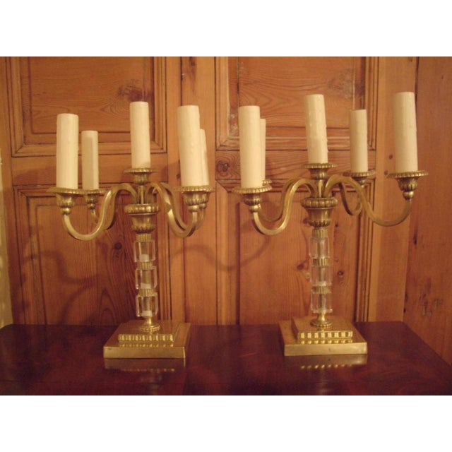 Brass Pair 1930's Brass and Lucite Candelabras For Sale - Image 7 of 8