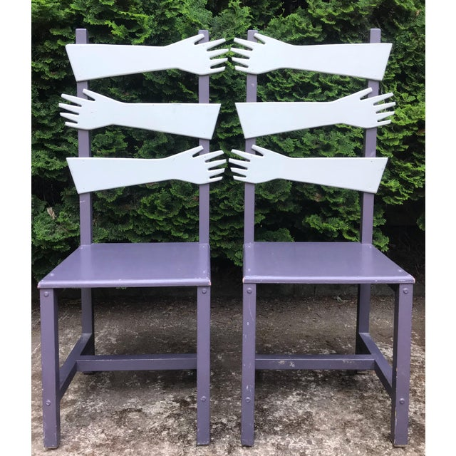 """Purple Whimsical Post Modern Artist Made """"hand"""" Chairs -A Pair For Sale - Image 8 of 8"""