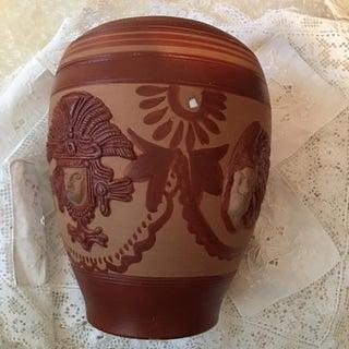 Vintage Aztec Peruvian Folk Art Pottery Vase Preview