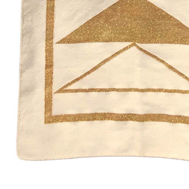 Modern Geometric Nicole Handwoven Modern Gold Runner Rug, Carpet, Durrie - 2.5' X 8' For Sale - Image 3 of 5