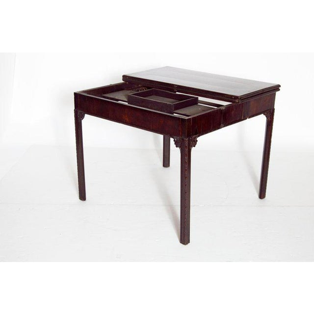 Felt 18th Century George III Mahogany Concertina Action Card Table For Sale - Image 7 of 13