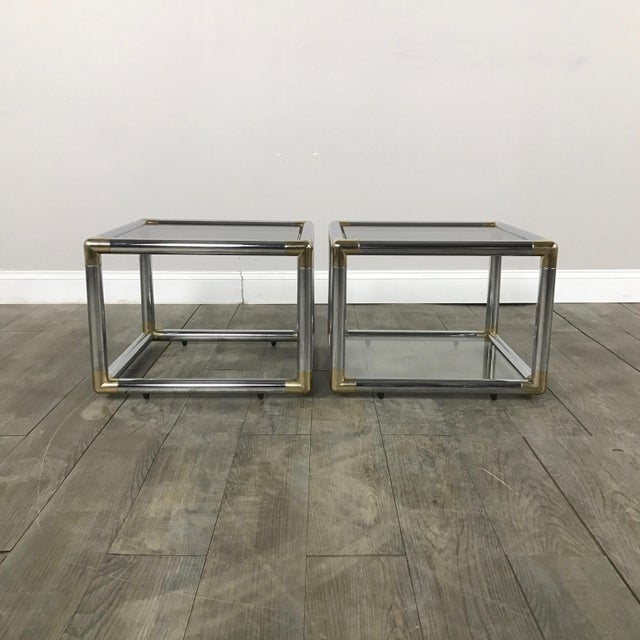 Mid-Century Modern Chrome Boxed End Tables Set - Image 2 of 11