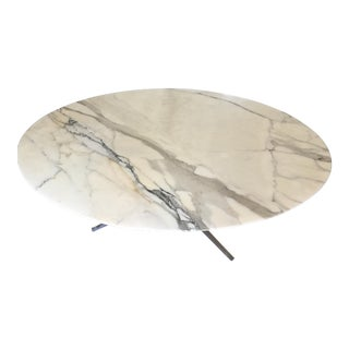 Florence Knoll Marble Top Chrome Oval Table For Sale