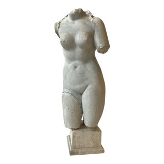 1850s Italian Carved Marble Female Torso For Sale