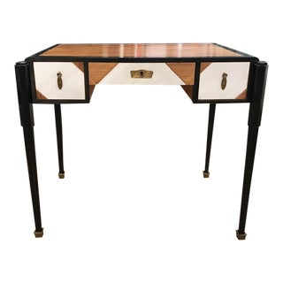 Old Walnut Art Deco Desk in Black and White, Signed