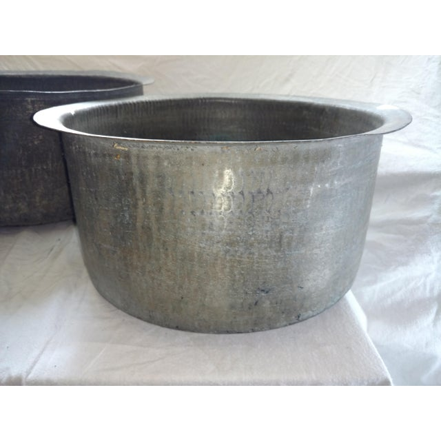 Antique Ceylonese Hammered Metal Copper Bottom Cauldrons - Set of 3 For Sale - Image 4 of 13
