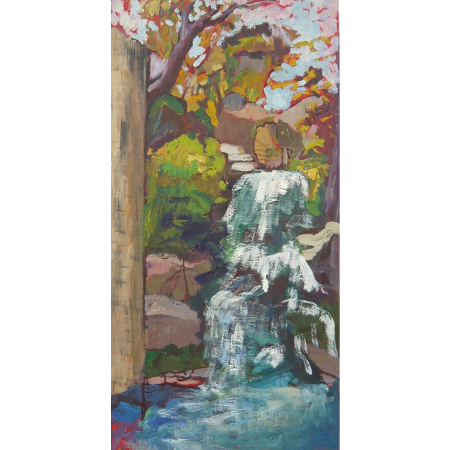 """Waterfall in the Japanese Garden"" Oil Painting - Image 1 of 6"