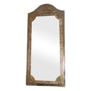 Vintage 20th Century Beveled Foil Mirror For Sale