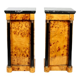 Early 20th Century Empire Style Marble-Top Bar / Wood Half Commodes - a Pair For Sale