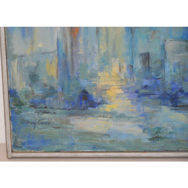 Mid Century Modern Abstract Cityscape by Mary Carey c.1950s For Sale - Image 5 of 7