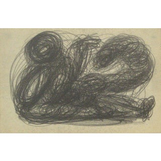 Monochromatic Swirled Graphite Abstract, Early-Mid 20th Century For Sale