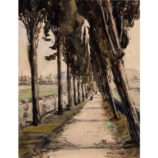 Monory 1936 French Country Path Painting - Image 2 of 5