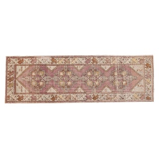 "Vintage Distressed Oushak Rug Runner - 3' X 9'2"" For Sale"