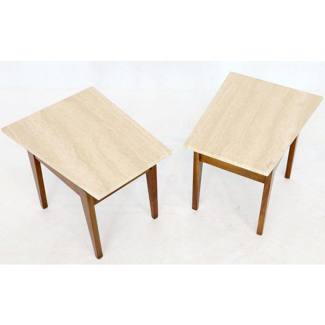 Brown Risom Walnut End Tables W/ Wedge Shape Travertine Marble Tops - A Pair For Sale - Image 8 of 13
