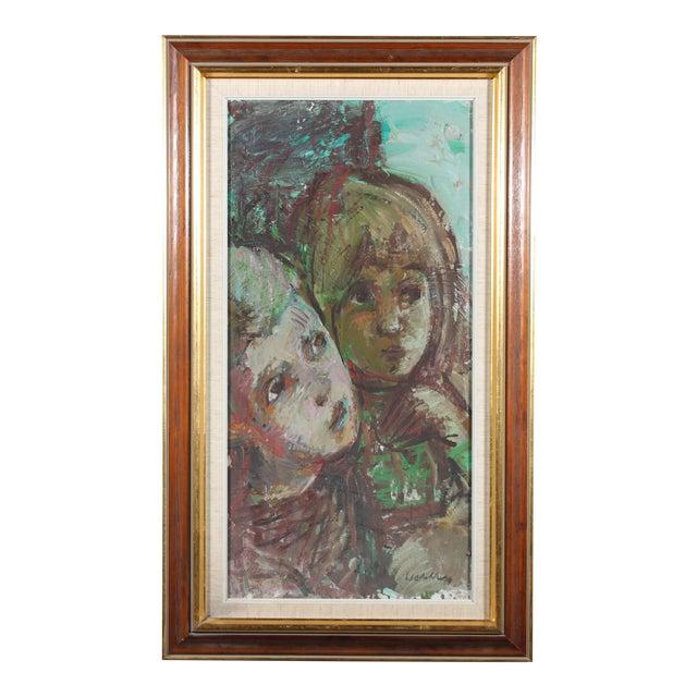 """Bertil Wahlberg """"Siblings"""" Oil on Canvas Painting - Image 1 of 3"""