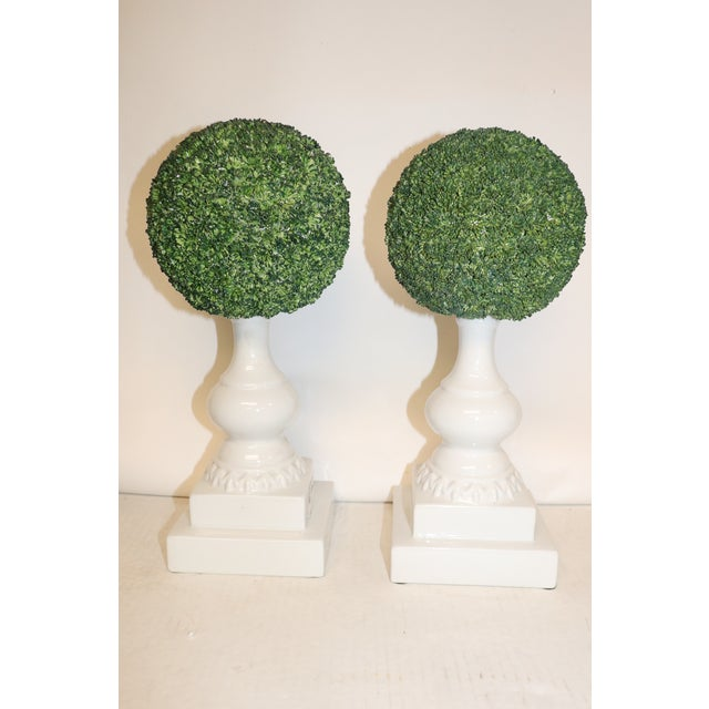 1950s Vintage Porcelain Topiaries - a Pair For Sale - Image 4 of 4