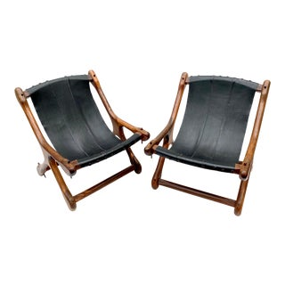 Don Shoemaker Rosewood & Leather Sloucher Chairs a Pair For Sale