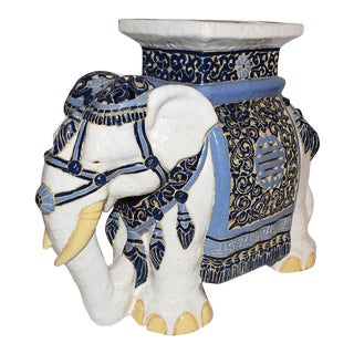 Blue and White Ceramic Elephant Garden Stool For Sale