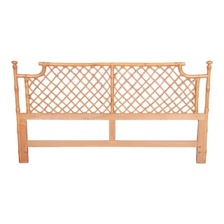 McGuire Style Mid-Century Hollywood Regency Faux Bamboo and Rattan King Size Headboard For Sale