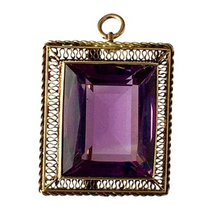 Edwardian 14k Gold Amethyst Brooch / Pendant For Sale
