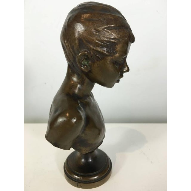 Bronze Portrait Bust of a Youth - Image 4 of 5