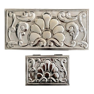 Handcrafted Silverplate Boxes - Pair For Sale