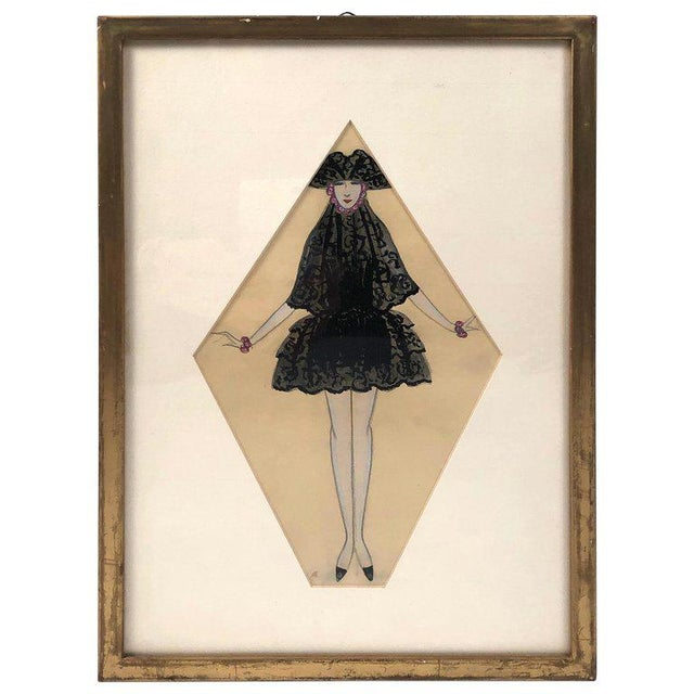 Art Deco Period Fashion Costume Drawing of Venetian Woman For Sale - Image 10 of 10