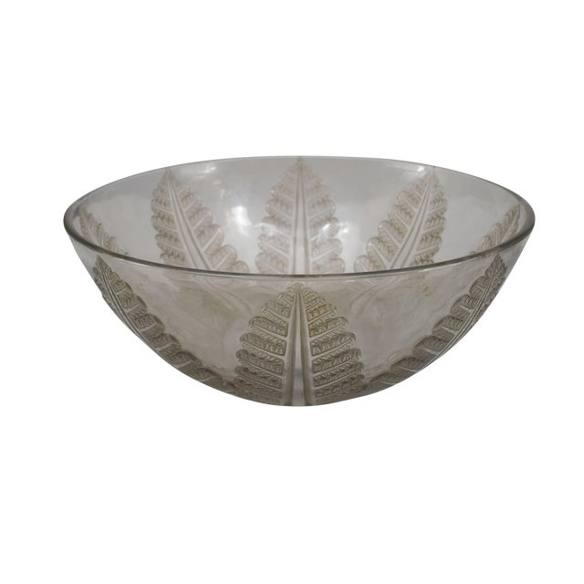 French Art Deco Cut Crystal Bowl For Sale