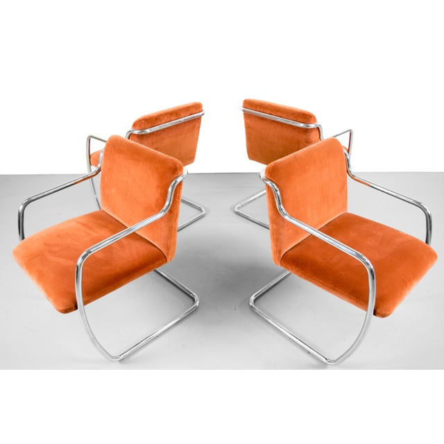Brueton Chrome and Velvet Dining or Conference Chairs - Image 9 of 11