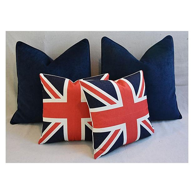 Custom Tailored Blue Velvet & Union Jack Flag Feather/Down Pillows - Set of 4 For Sale In Los Angeles - Image 6 of 9