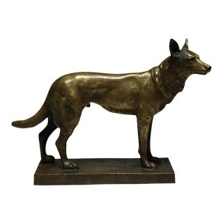 Early 20th C. Small Bronze Dog Sculpture C. 1940-1950s