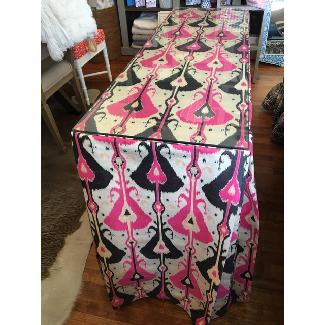 Pink & Indigo Ikat Skirted Console Table For Sale - Image 4 of 5