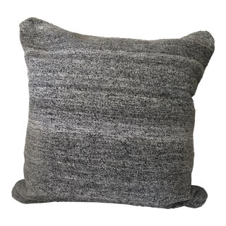 Restoration Hardware Flatweave Charcoal Heathered Pillow