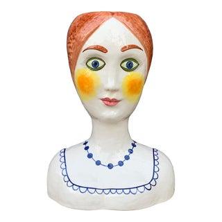1960s Vintage Italian Ceramic Head Vase Planter For Sale