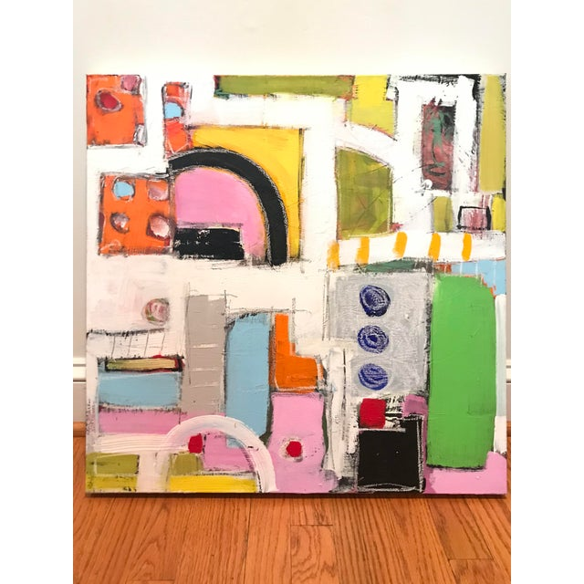 Bright, bold, energetic composition reminiscent of urban street scenes and roadways. 24 x 24 x 1.5 (thick gallery wrapped...