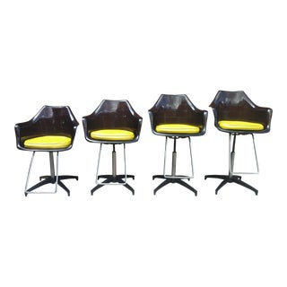1970s Vintage Smoked Lucite Swivel Bar/Salon/ Barber Chairs - Set of 4 For Sale