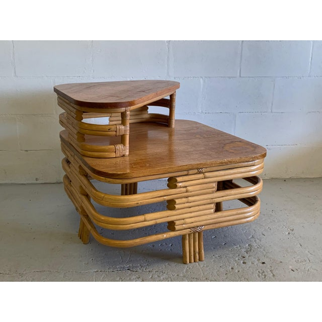 1950s Paul Frankl Style Stacked Rattan Corner Table For Sale - Image 5 of 5