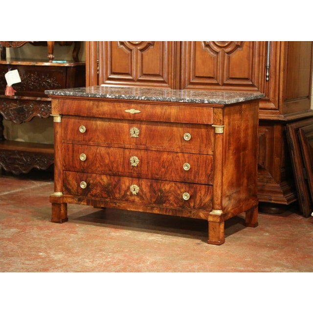 Gold 19th Century French Empire Walnut Four-Drawer Commode With Black & White Marble For Sale - Image 8 of 8