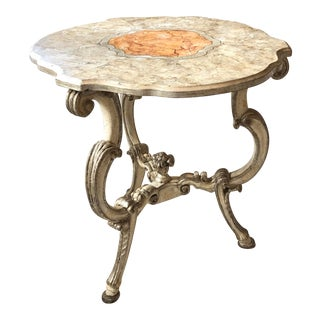 Italian Early 20th C. Baroque Tripod Table With Faux Painted Marble Top For Sale