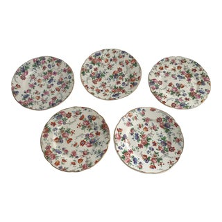 Cheery Chintz Dessert Plates - Set of 5 For Sale