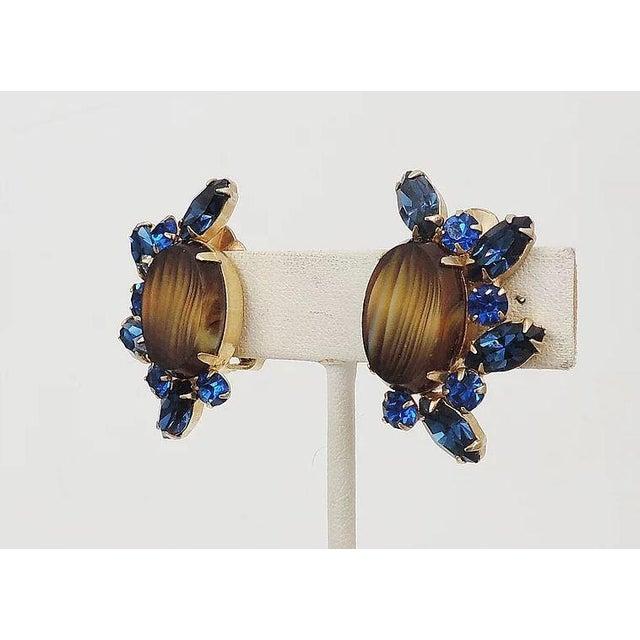 Gemstone 1960s Hattie Carnegie Striped Rhinestone Earrings For Sale - Image 7 of 9