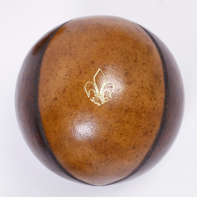 Mid 20th Century Six Decorative Leather Balls For Sale - Image 5 of 8