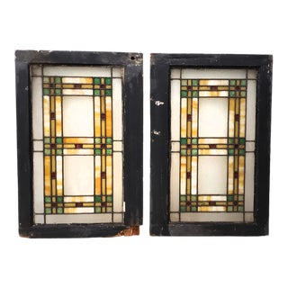 19th Century Arts & Crafts Stained Glass Window Panels C. 1890s - a Pair For Sale
