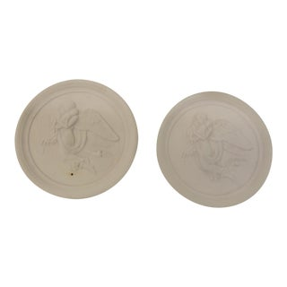 Vintage Jasperware Medallions in Natural Finish - a Pair